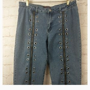 Platinumplush jeans with zippers and grommets